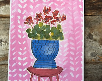 Geraniums in a Blue Pot Archival Print of Gouache Painting