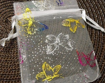 TAX SEASON Stock up 12 Pack Multiple Color Butterfly White Sheer Organza 2.75 X 3 inch Draw String Bags