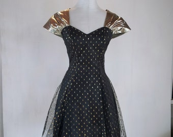 1980s Golden Sweetheart Polka Dot Tulle Party Dress Glam