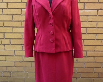 1950's Red Wool Suit