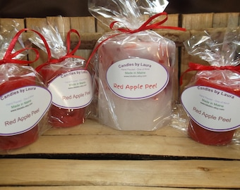 Red Apple Peel scented pillar with 3 large votives