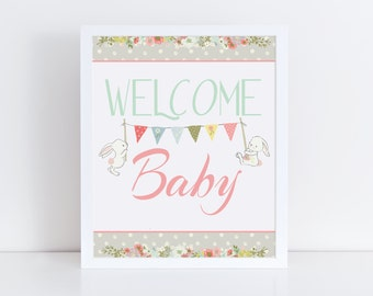 Bunny Welcome Baby Shower Sign, Girl Baby Shower Sign, Welcome Baby Sign, Pink Baby Shower, Instant Download, Baby Shower Decorations
