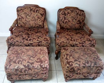 Flexsteel French Provincial Bergere Chairs & Ottomans Set of 2 (Shipping Not Included)
