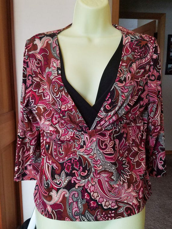 floral top flower blouse red & black womens size XL low V neck shirt 1990s clothing