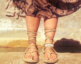 Beautyful natural roman Style Nomad primitive Tribal vegan gipsy Gladiator Sandals unisex