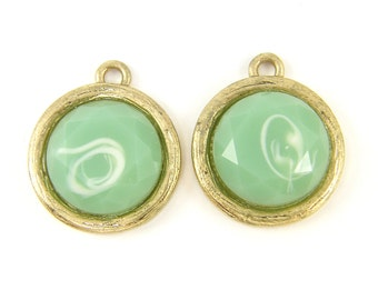 Mint Green Earring Findings Round Textured Gold Framed Pendant Jewelry Components  GR4-10 2