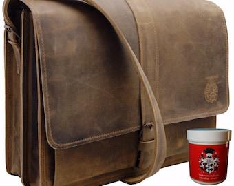 Shoulder bag PLANCK made of antique brown leather - BARON of MALTZAHN