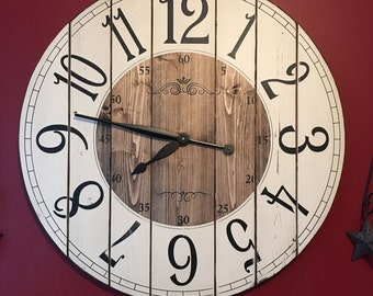 28 Inch Farmhouse Clock   Rustic Wall Clock   Large ...
