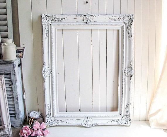 Large White Frame, Vintage Ornate Rustic White Frame, Shabby Chic ...
