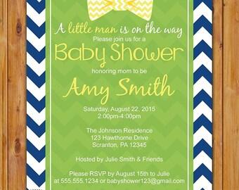 Bow Tie Baby Shower Invitation Yellow Lime Green Navy Blue Chevron Little Man Shower Invite 5x7 Digital JPG (241)