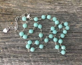 Mint Alabaster Swarovski Crystal Necklace
