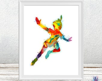 Peter Pan watercolor print - nursery decor - Peter pan watercolor- Disney art