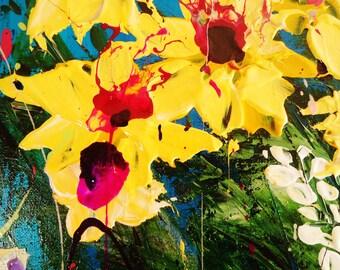 Blue Sky Yellow Wild Flowers Painting Set of Three Paintings #1 #2 # 3, See Last Photos