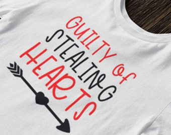 Guilty of Stealing Hearts Valentines Day iron on tshirt design