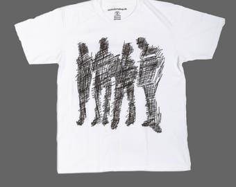 "T-Shirt ""abstract humans"" white unisex"