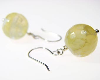 Yellow Agate Dangle Earrings: Healing Yellow & White Faceted Gemstone Spheres Wire-Wrapped with Nickel-Free, Hypoallergenic Copper or Silver