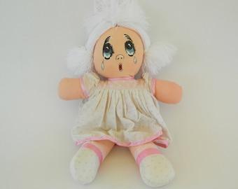 Vintage Rag Doll Girl, Collectible Doll,1980's  Rag Doll,Crying Doll,Retro Doll,Vintage Doll,Girl Doll,Handmade Doll,Fabric Doll