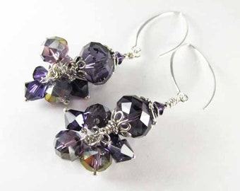 Chunky Purple Swarovski Crystal and Sterling Silver Earrings with V-Shaped Wires