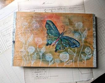 Butterfly Art - Watercolor - Ink - Mixed Media - Encaustic Art - Original Fantasy Art - Art for Small Space - Unique Art - Wall Decor