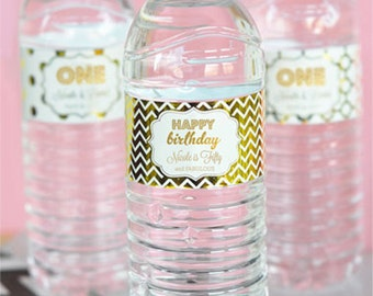 1st Birthday Water Bottle Labels - First Birthday Water Bottle Labels - Pink and Gold Birthday Party Water Labels  (EB2350FY) set of 18|