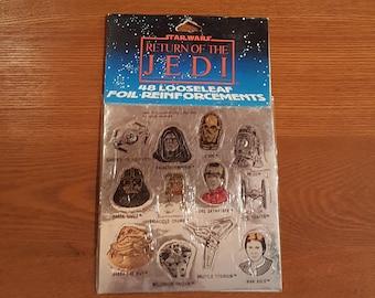 Vintage Star Wars ROTJ portent une feuille feuilles mobiles renforts autocollants - neuf dans emballage - le retour du Jedi - 1983