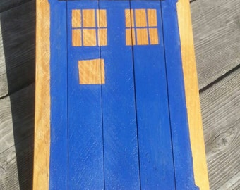 Doctor Who Tardis painting on reclaimed wood