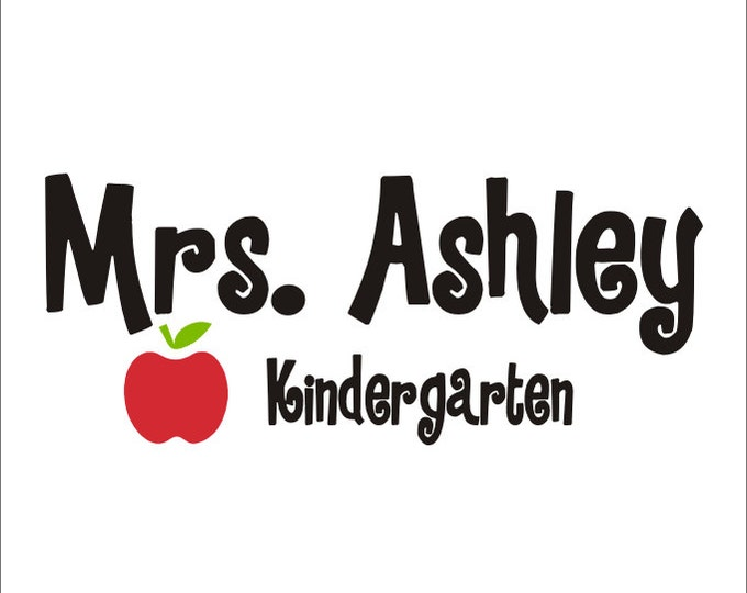 Teacher Personalized Vinyl Decal Wall Door Desk Name Decal with Apple Classroom School Educational Teacher Vinyl Decal Personalized