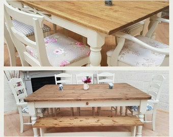 Beautiful shabby chic farmhouse Dining Tables and Chairs! All shapes, sizes, styles and colours available!