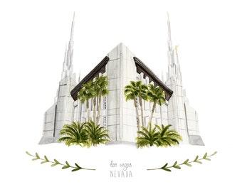 Las Vegas Nevada LDS Temple Illustration - Archival Art Print