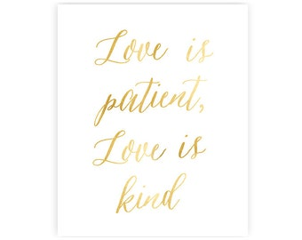 5x7 inches -  Love is patient, Love is kind - Light gold - Art Print
