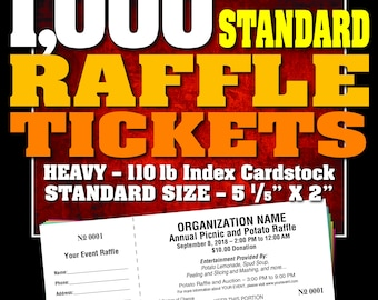 1,000 Standard Raffle Tickets, Customised, Perforated and Numbered