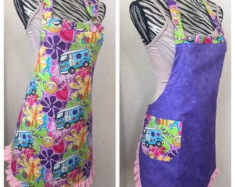 Hippy Happiness Bus Reversible Apron