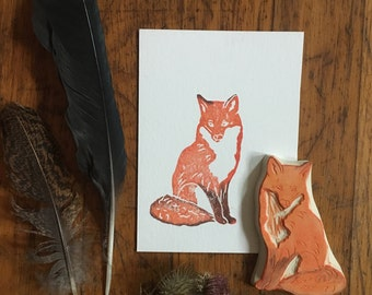 Red Fox Rubber Stamp