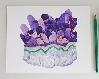"Crystal Collage 1. ""Amethyst Cluster."" Archival Print - Hand-embellished with glitter"