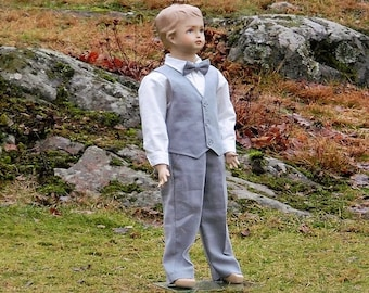 Rustic ring bearer outfit. Boys linen suit. Toddler boy formal