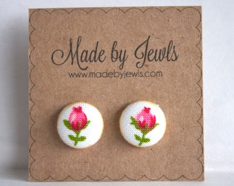 Red and White Rosebud Handmade Fabric Covered Hypoallergenic Button Post Stud Earrings 10mm
