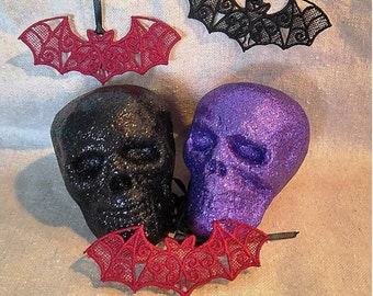 Lace Bat Necklace on Ribbon - choose Black, Red, or Glow In the Dark