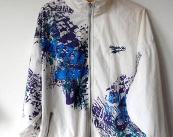 Reebok 90s,vintage windbreaker, vintage jacket, multicolour, white, L size, oversized