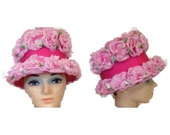 Fabulous Vintage Pink Floral Hat