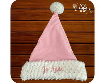 Personalised Embroidered Plush Pink Sequined Santa Hat