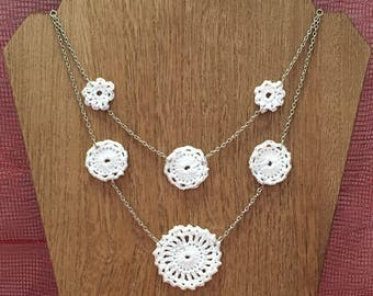 White Crochet Medallions and Flower Double Strand Silver Necklace With 2 inch Extender