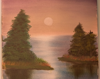 Sunset Reflection on Water Oil Painting