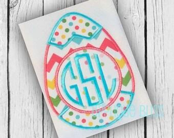 Monogram Easter Egg Digital Applique Design - Easter Applique Design - Easter Embroidery Design - Easter Egg - Easter Bunny