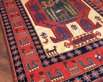 7 X 10 Handmade Wool Geometric Rug Kazak Design Kids Room
