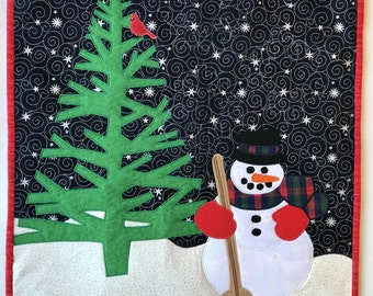 Original Quilted Appliqued Wall Hanging-Snowman, Tree, & Red Bird-Whimsical Winter Cabin Decor