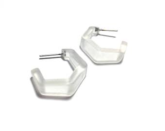 Crystal Hoops Earrings   Clear Frosted Tapered Hex Hoops   vintage mod lucite hoop earrings