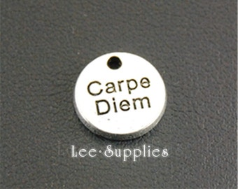 20pcs Antique Silver Carpe Diem Round Tag Charms A1322