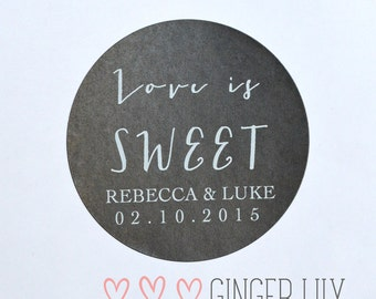 Modern Love is Sweet Favour Stickers - Personalised - White Print