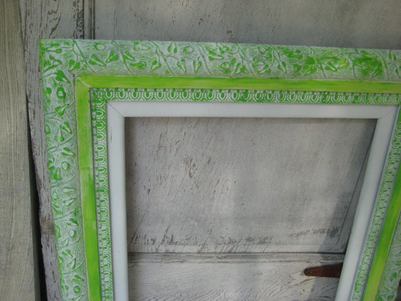 Antique wood frame, painted lime green frame, large ornate ...