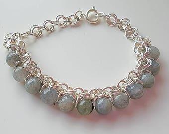 labradorite chain maille bracelet